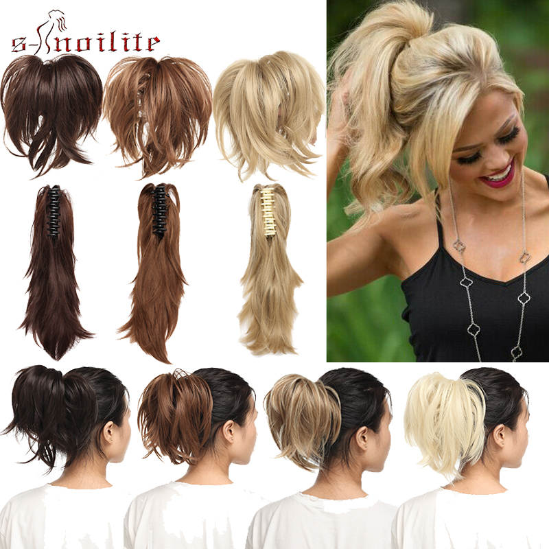 S-noilite DIY Wavy Clip In Ponytail Hair Extensions Claw Ponytails Synthetic Hair Clip In Hair Extension Fake Hair For Women