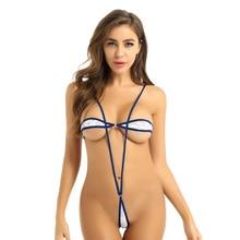 Womens Erotic Sexy Micro Mini G-String Thong Bikini Bodysuit Sheer Lace Lingerie Set Strapless Bra Top Suspender Briefs Bottom
