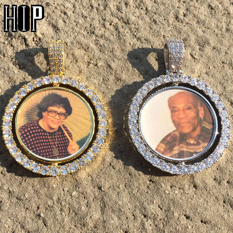Hip Hop okrągły obrotowy dwustronny Iced Out Bling Custom Made Photo Cubic naszyjnik cyrkoniowy i wisiorek dla mężczyzn biżuteria łańcuch tenisowy