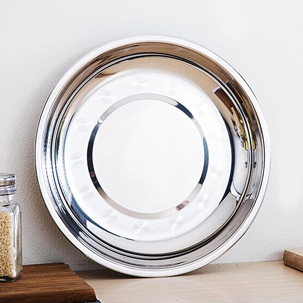 Good Quality 16-28cm Dia Stainless Steel Dinner Plate Tableware Food Container Salad Dessert Fruit Services Dish Tray