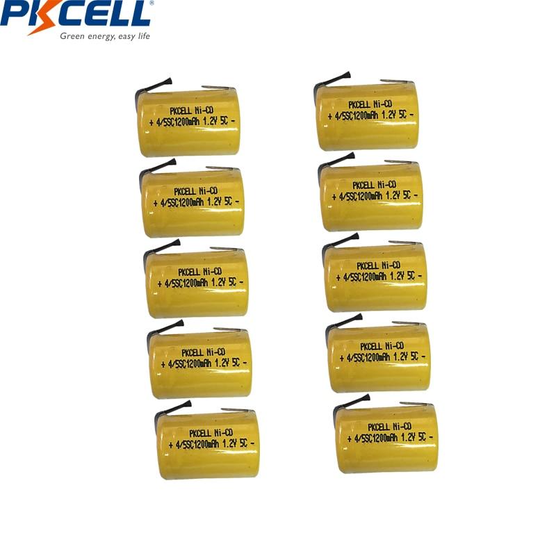 4/8/10PC PKCELL 4/5 SC Batterie 1.2V NICD Batteria Ricaricabile 1200mAh con le schede di saldatura 4/5 SubC batteria per utensili elettrici