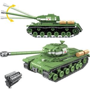 Image 1 - 1068 pcs Militare IS 2M Carro Pesante Soldato Blocchi di Costruzione Arma fit LegoING Technic WW2 Serbatoio Mattoni Army 100062 Giocattoli Per Bambini regali