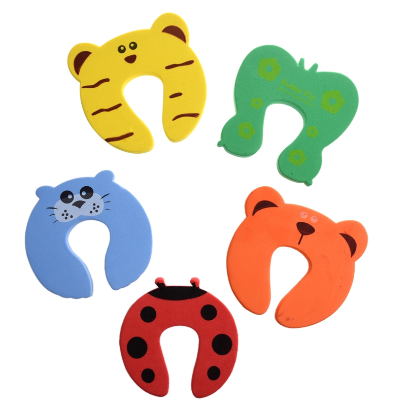 ABKT-5x Baby Kids Door Jammer Finger Pinch Guard Child Toddler Infant Safety Protector Stopper Cute Animal Designs