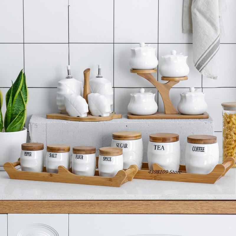 Ceramic Seasoning Tank Oil Bottle Household Sealed Storage Tank Salt Pepper Bottle Kitchen Supplies Natural Bamboo Wood Cruet