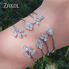 ZAKOL Fashion Open Cuff Style Jewelry Water Drop & Round & Leaf Shape Cubic Zirconia Bangle for Elegant Women Lover Gift