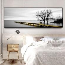 Спокойное озеро поверхности пейзаж жёлтое длинное мост сцена