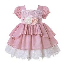 Pettigirl/оптовая продажа, изысканные летние вечерние платья для маленьких девочек с цветочным принтом и повязкой на голову, для дня рождения, для детей, для детей, для возраста от 2 до 8 лет