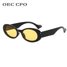 OEC CPO Vintage owalne okulary przeciwsłoneczne damskie marka projektant mała ramka okulary przeciwsłoneczne damskie Retro czarny żółty okrągłe okulary UV400 O881