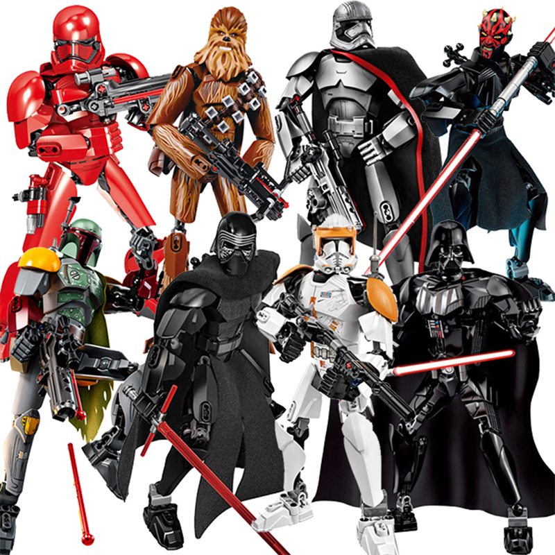 Star Wars Block Stormtrooper Darth Vader Kylo Ren Chewbacca Boba Jango Fett General Grievou Building For Lego Figure Kid Toy