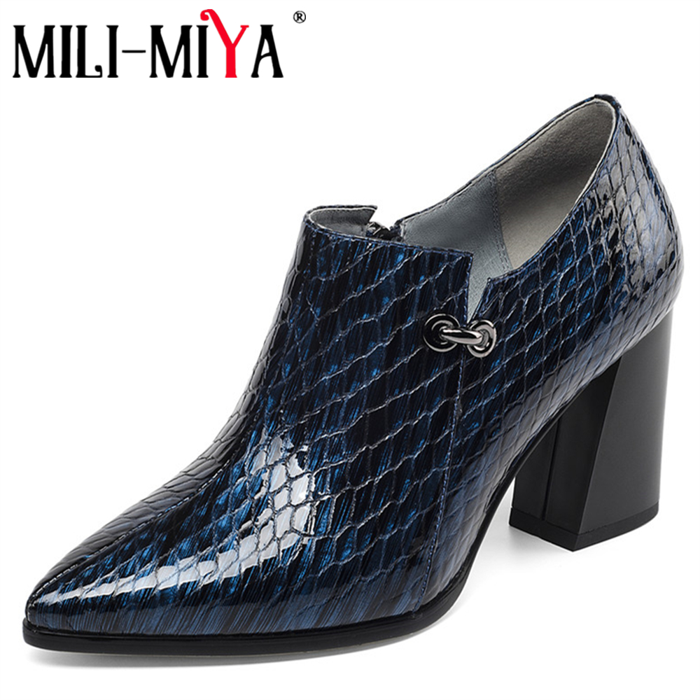 MILI-MIYA Classic Design Women Office&Career Pumps Patent Leather Snake Pattern Pointed Toe Zipper Square Heels Large Size 34-43