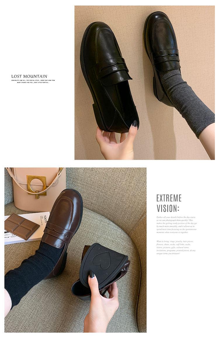Loafers femininos flat estilo britânico preto 2020