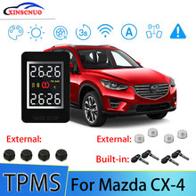 XINSCNUO Car TPMS For Mazda CX-4 Tire Pressure and Temperature Monitoring System with 4 Sensors tn400 wireless tire pressure monitoring tpms system monitor 4 internal sensors for renault peugeot toyota and all car free ship