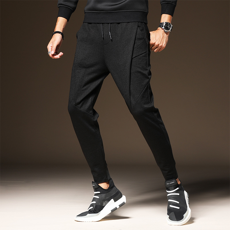 Men Pants with Velvet Sub-Winter Thick Beam Leg Athletic Pants Autumn And Winter Casual Sweatpants Fashion Pants Men's Outer Wea