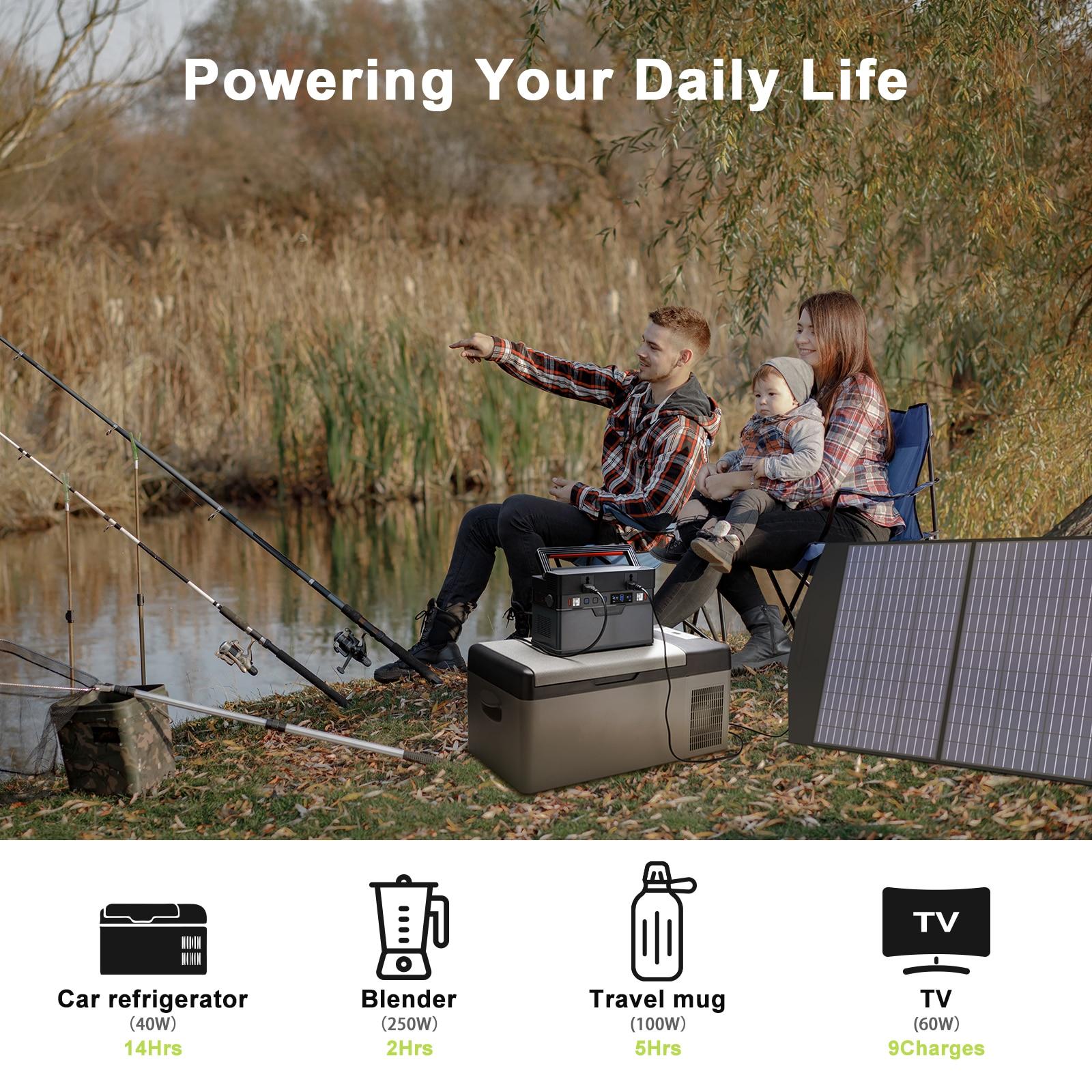 Allpowers Solar Generator, 110V/220V Portable Power Station, mobiele Emergency Backup Power Met 18V Opvouwbare Solar Panel Charger 4