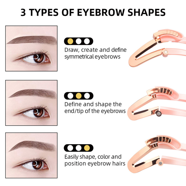 Stereo For Beginners Girl DIY Grooming Template Makeup Model Adjustable Eyebrow Shapes Stencil Drawing Handheld Tool 3 In 1 Home 5