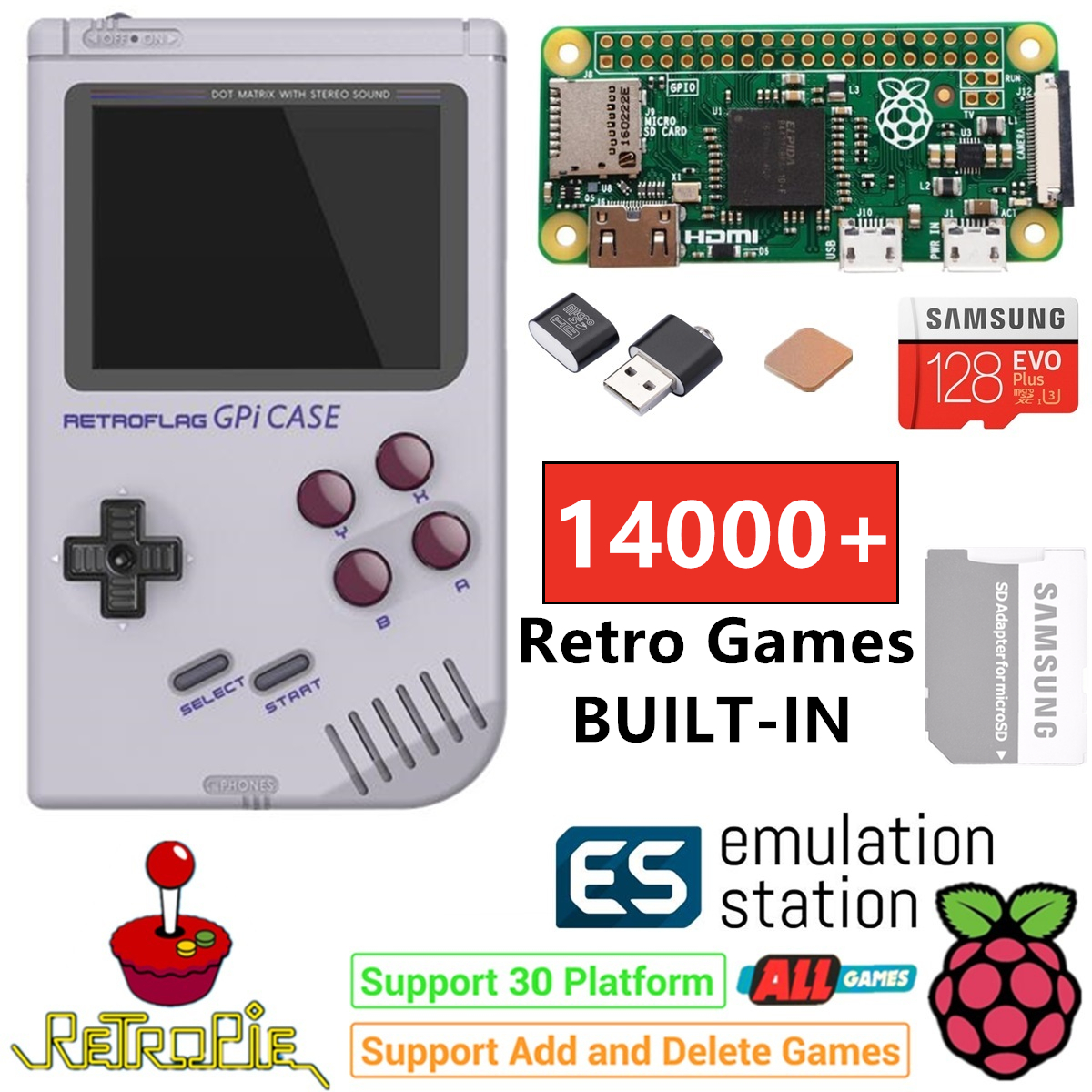 Raspberry Pi Zero Handheld Game Console GPi Case Safe Shutdown 128GB 14000+ Games Customized ES Retropie Emulation Game Station