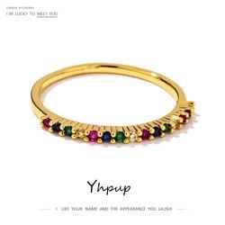 Yhpup moda marka Rainbow wielobarwne kobiety pierścień miedzi europa i ameryka biżuteria dla dziewczyny kobieta ślub prezent dla dziewczyny nowy