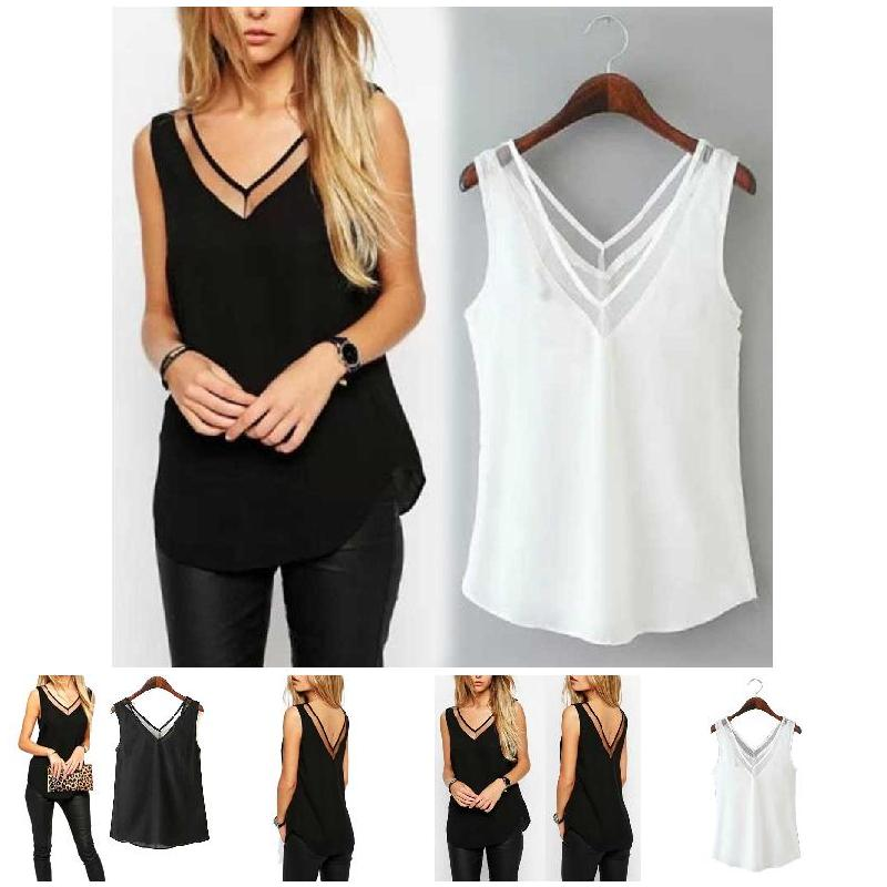 2019 Summer Fashion Hot Sales Fashion Chiffon Slim Loose V-Neck Sleeveless Chiffon Vest Shirt Blouse   Tops   For Women Girls SMA66
