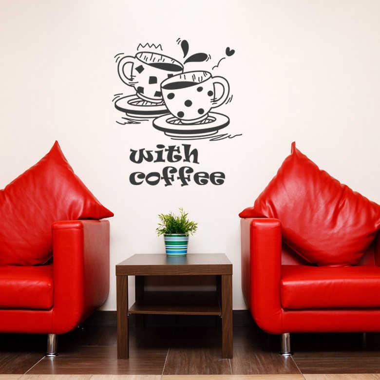 コーヒーショップステッカー豆ミルクティーデカールカフェカップポスタービニールアート壁の装飾壁画装飾ブレークパンコーヒーガラスデカール