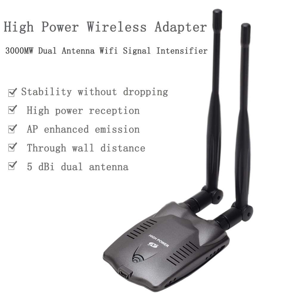 BT-N9100 High Power Beini free Dual Antenna Wifi Decoder Adapter 3000mW USB 2.0 Password Cracking Wireless BlueWay Ralink 3070(China)