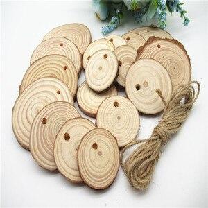 Image 2 - 5/10pcsNatural ahşap dilimleri bitmemiş yuvarlak daire ağaç kabuğu Log diskler DIY oyuncaklar ev dekorasyon ahşap el yapımı el sanatları