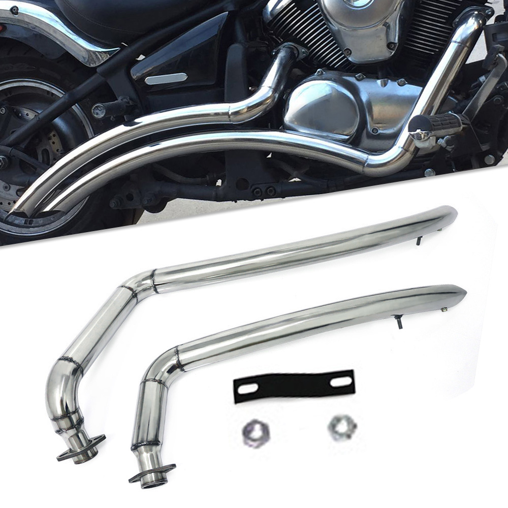 Motorcycle Exhaust Pipe Aerofluxus Vent Pipe With Baffles Muffler Silencer For <font><b>Kawasaki</b></font> <font><b>Vulcan</b></font> 900 S EN900 <font><b>VN900</b></font> S900 All Years image