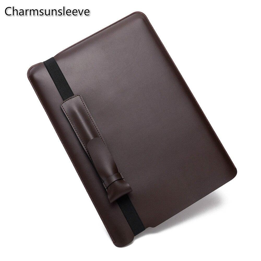"""Charmsunsleeve, para lenovo thinkpad t490s (14 """") caso para portátil, capa de couro de microfibra bolsa de manga para portátil com caneta caso"""