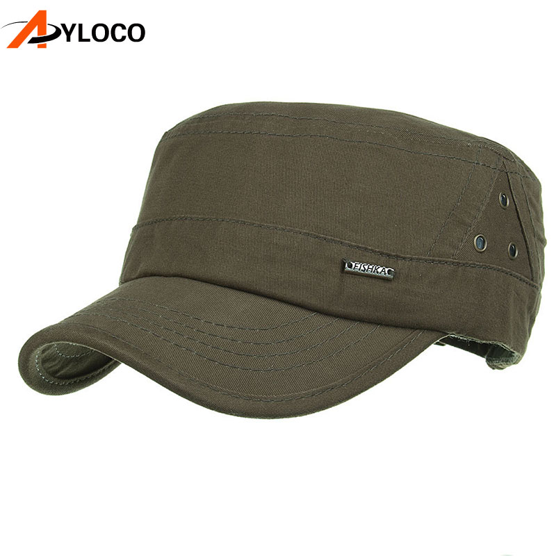 Autumn Classic Flat Top Mens Cotton Military Caps Army Hiking Fishing Hat Adjustable Baseball Cap Tactical Hats For Men image