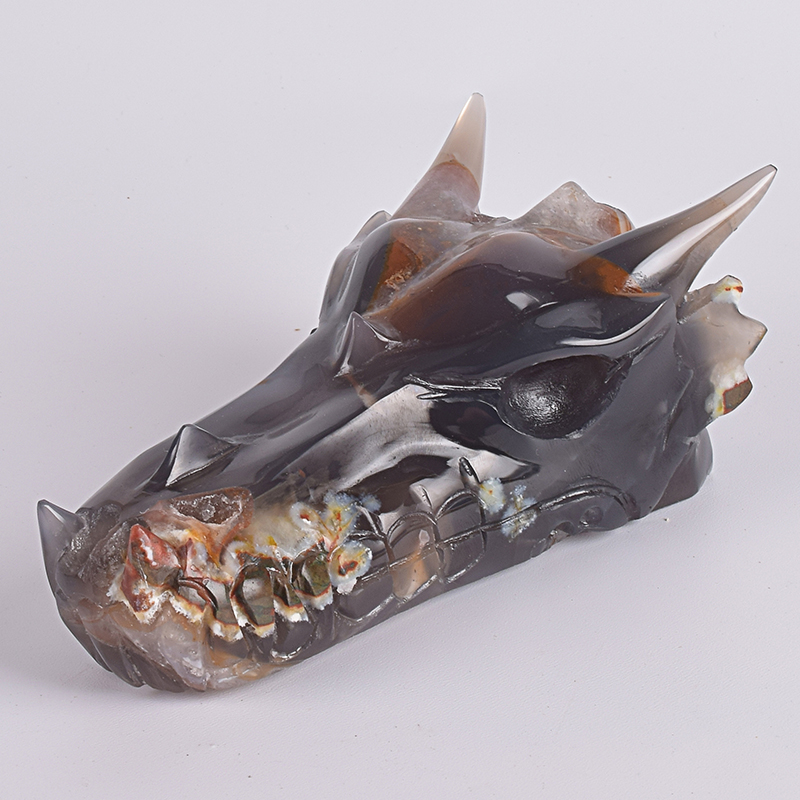 5 Inch Natural Crystals Agate Dragon Skull Head Figurine 493g Skulls Carved Statue Healing Carving Natural