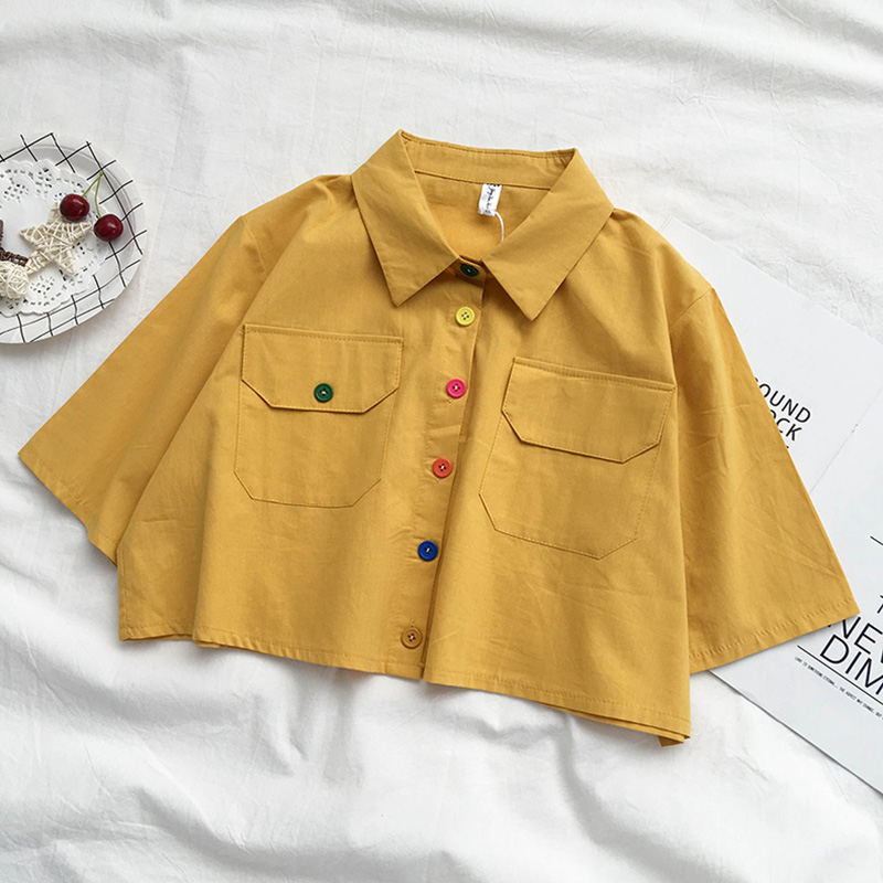Summer Harajuku Collar Crop White Shirt Korean Cute Button Short Blouse Ladies Clothing Vintage Loose Green Linen Top Femme