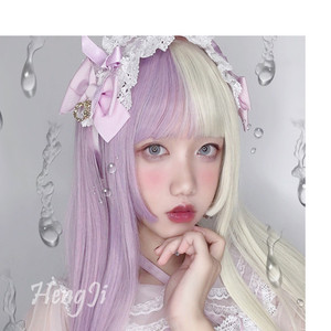 Image 1 - Pre sale Uwowo Purple And White Long Wig Staight Cosplay Wig Heat Resistant Synthetic Hair Anime Party wigs