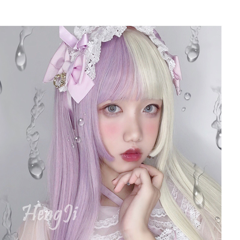 Uwowo Purple And White Long Wig Staight Cosplay Wig Heat Resistant Synthetic Hair Anime Party Wigs