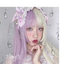 Uwowo perruque synthétique lisse longue violette et blanche, coiffure pour Cosplay résistante à la chaleur, cheveux pour fête Anime, prévente