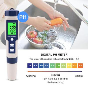 ec cf tds ph c f multifunction 6 in 1 ph meter water quality meter with rechargeable battery tri scale screen display Professional PH Meter Water Quality Tester TDS/PH/EC Tester Temperature Tester pen Conductivity Water Quality Measurement Tools