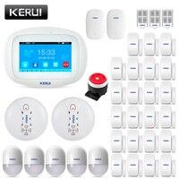 2019 KERUI K52 놀라운 디자인 4.3 인치 TFT 컬러 디스플레이 평면 와이파이 GSM 경보 시스템 보안 도난 도어 센서 알람