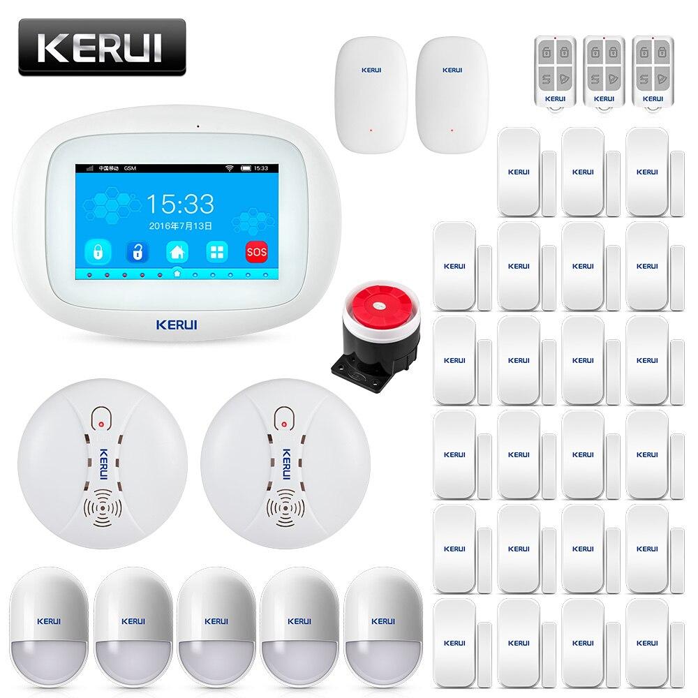 2020 KERUI K52 Erstaunliche Design 4,3 Zoll TFT Farbe Display Flache WIFI GSM Alarm System Sicherheit Einbrecher Tür Sensor Alarm