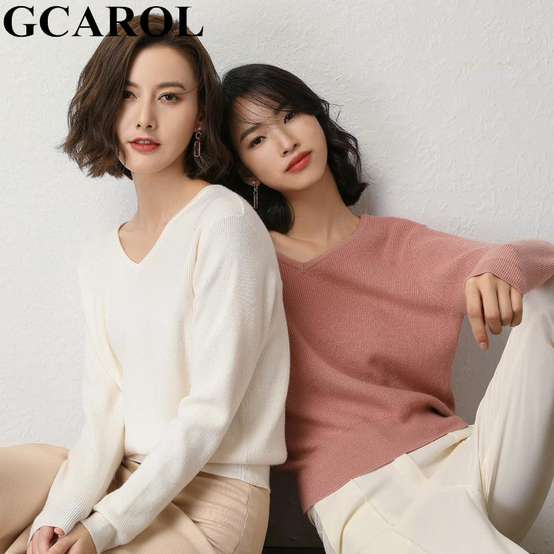 GCAROL New Women V Neck 30% Wool Sweater Thick Casual Knit Jumper  Fall Winter Streetwear Render Knit Pullover In 6 Colors