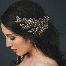 Новинка, жемчужная Свадебная повязка на голову, головной убор для невесты, волосы лозы, стразы, аксессуары, Прямая поставка