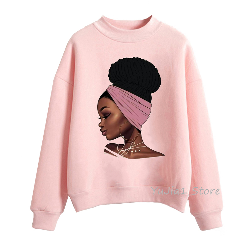 Melanin Poppin Pink Hoodies Women Clothing Beautiful Black Girl Print Sweatshirt Women Sweat Femme Sudadera Mujer 2019 Tops