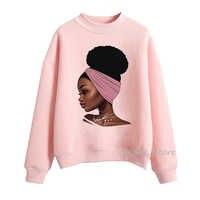 Melanin Poppin rosa hoodies frauen kleidung Schöne schwarz mädchen print sweatshirt frauen schweiß femme sudadera mujer 2019 tops