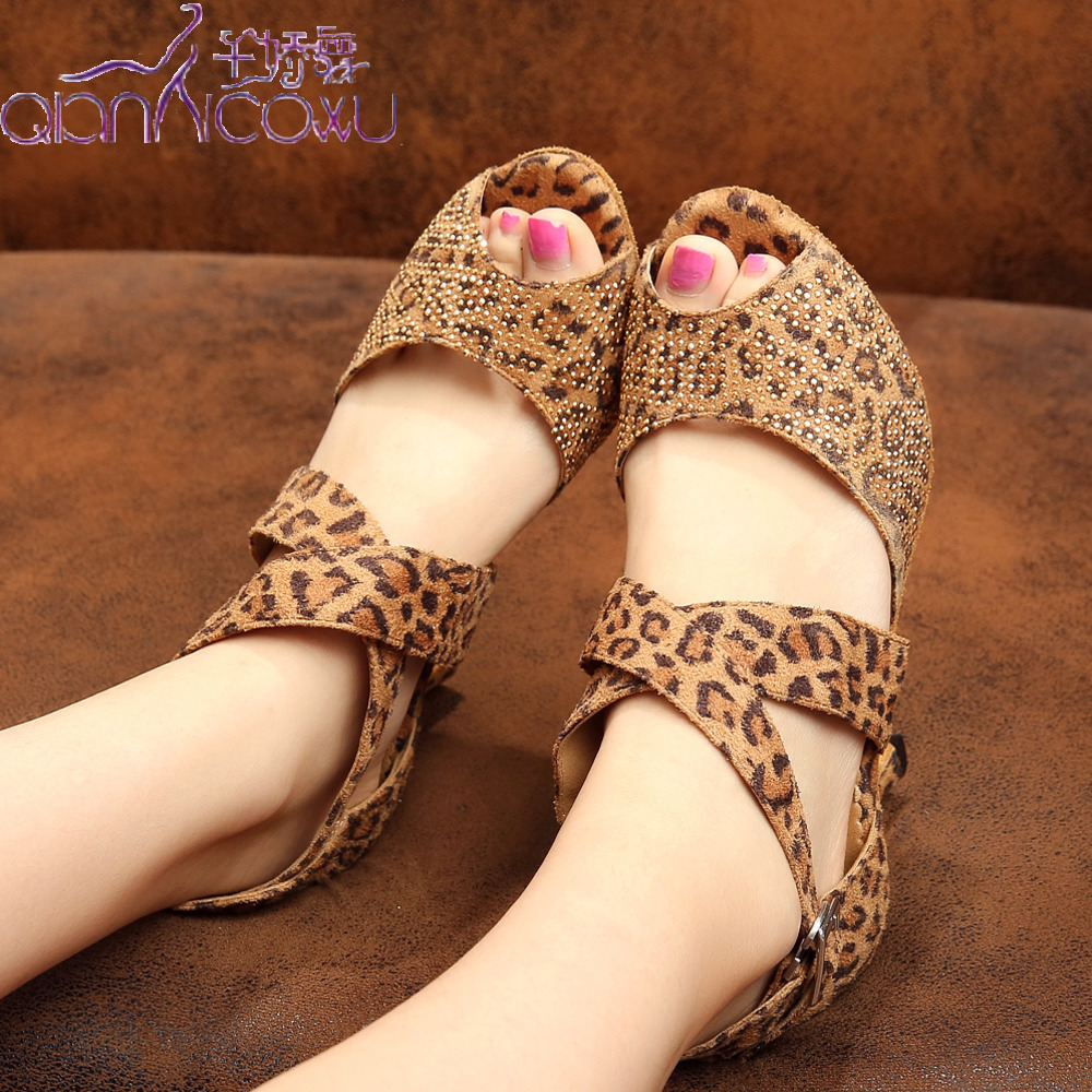 Discounts Jazz Salsa Ballroom Latin Dance Shoes For Dancing Women Training Dancers Samba Latino Small Leopard Summer Sandal 6232