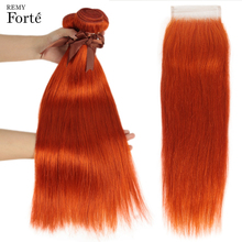 Remy Forte Straight hair Bundles With Closure Orange Bundles With Closure Brazilian Hair Weave Bundles 3/4 bundles with Closure remy forte straight hair bundles with closure pink bundles with closure brazilian hair weave bundles 3 4 colored hair bundles