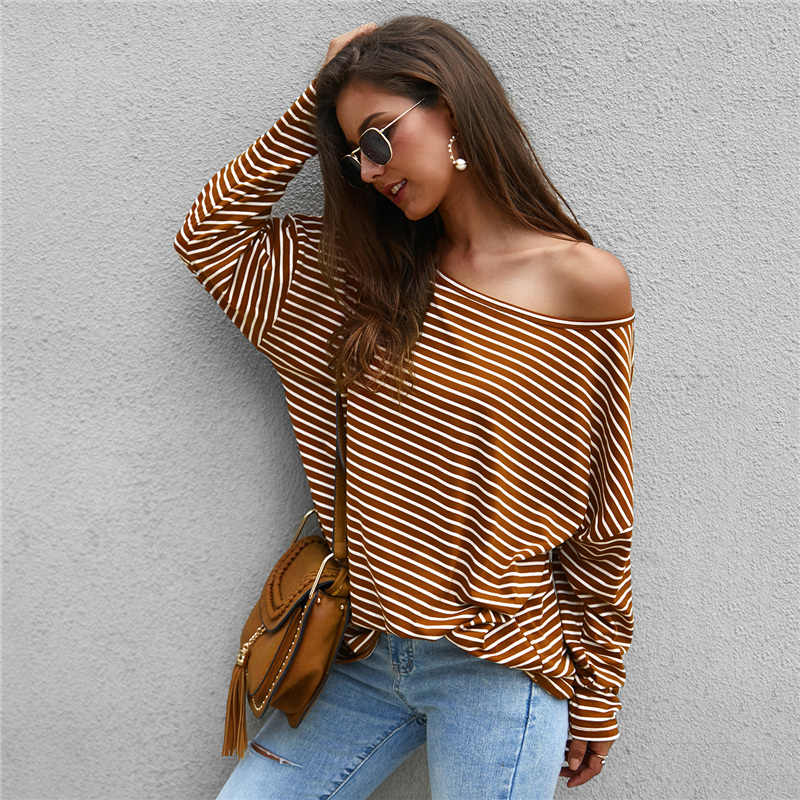 Women Autumn Stripe T shirt Long Sleeve Loose Tee shirt Femme Ladies harajuku tshirt Elegant Plain ulzzang dames Streetwear