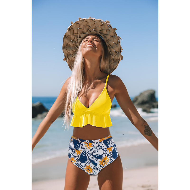 Hd81570f5406b4a5b855df7a420c7699e7 - Sexy Ruffle Bikini Set Women Solid Print Swimsuit Sexy Backless Swimwear High Waist Bikinis Bathing Suit Beachwear Biquinis
