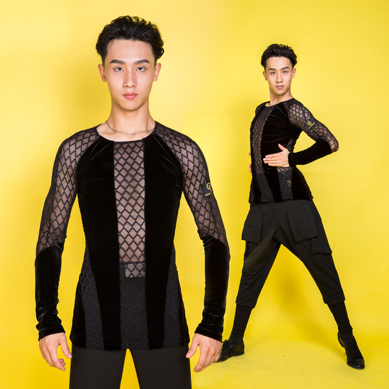Autumn Mens Latin Shirts Adult Latin Dance Dress New Male Dance Performance Rumba Long Sleeve Dancing Top Competition Wear L2719