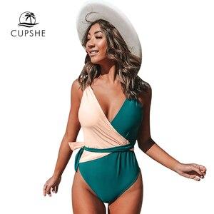 Image 3 - CUPSHE col en v deux tons une pièce avec ceinture maillot de bain Sexy dos ouvert femmes Monokini 2020 filles plage maillots de bain maillots de bain