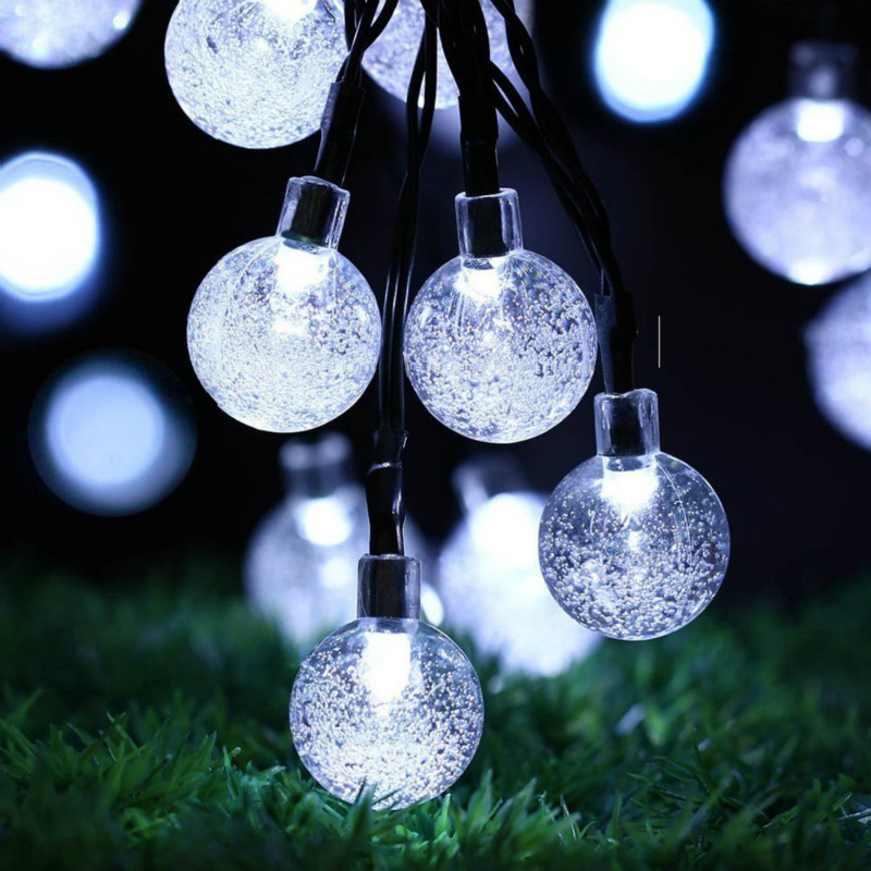 LED Crystal Bubble Ball String Lamp Light Warm White Garland Fairy Lights 2M- 10M For Christams Holiday Home Decoration