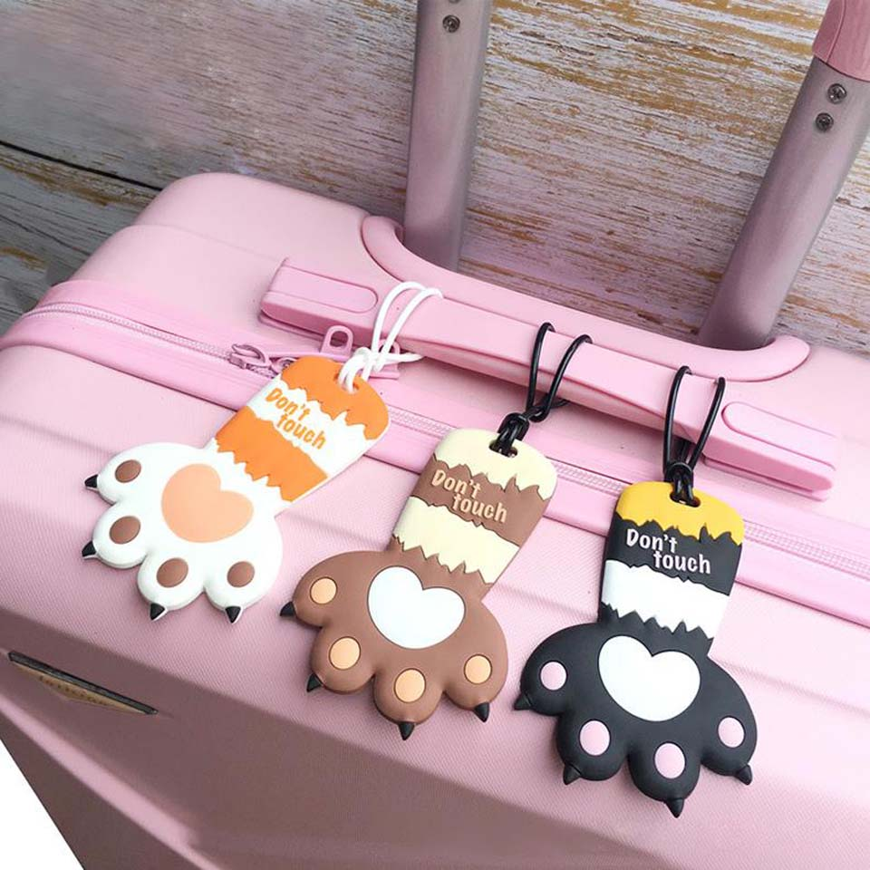 INS CUTE Chi's CAT CLAW 11.5CM Approx. Girl's Silicone Rubber Travel Luggage Tag Holder ; Luggage Label Name TAG Case