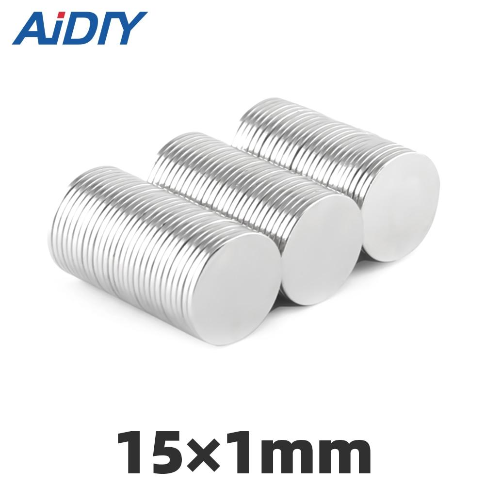AIDIY 10 Pcs Neodymium Magnets 15×1 12×2 8x3 10x1 10x2 6×4mm Mini  N35 Round Disc Magnet Very Strong Magnets Nickel Rare Earth