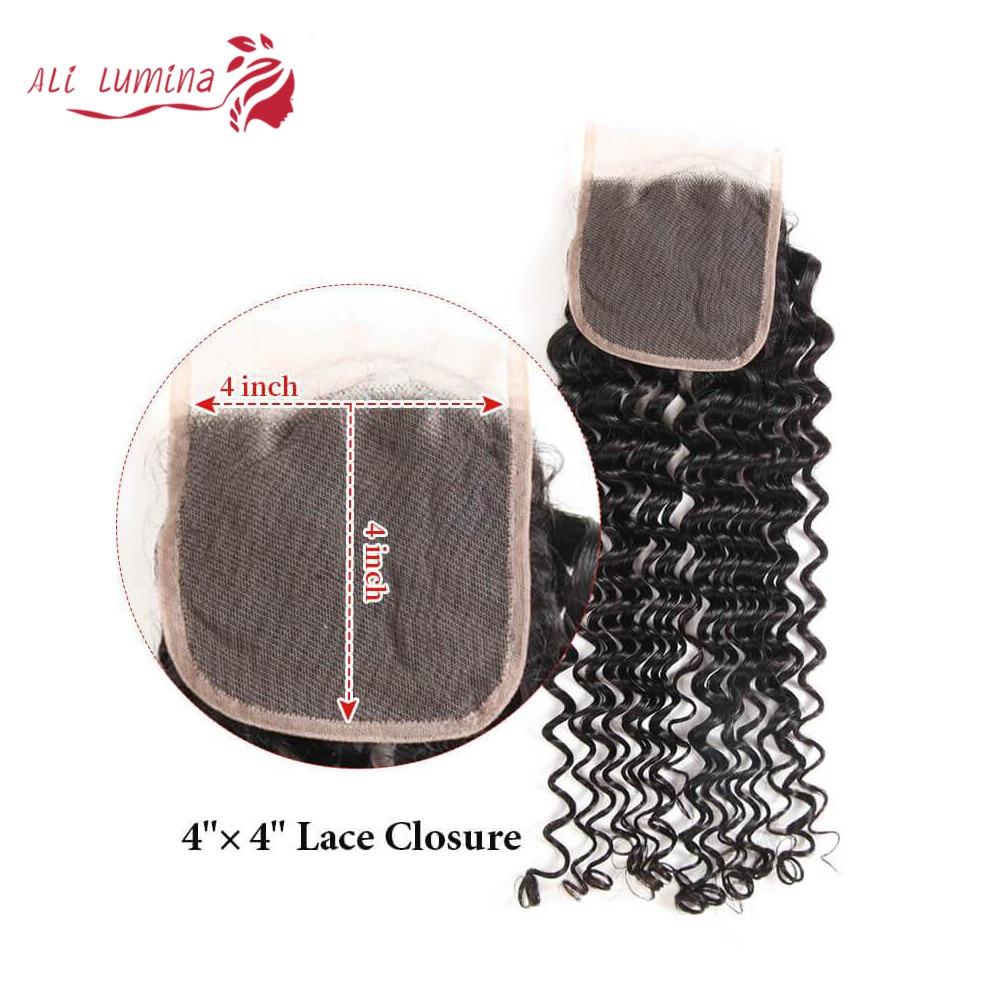 4x4 Lace Closure 100%  Closure Sample    Hair Deep Wave Frontal Closure 8 Inches Short Hair 3